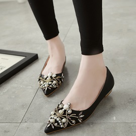 PU Slip-On Beads Rhinestone Women's Flats