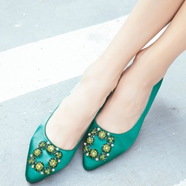 Elegant Slip-On Rhinestone Green Women's Flats