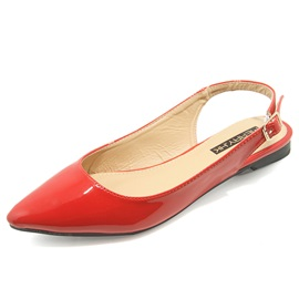 Patent Leather Pointed Toe Slingback Women's Flats