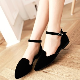 Nubuckl Leather Hollow Line-Style Buckle Women's Flats