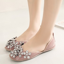 PU Slip-On Rhinestone Women's Flats