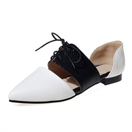 PU Serpentine Lace-Up Pointed Toe Women's Flats