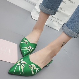 Silk Fabric Slip-On Closed Toe Floral Shoes
