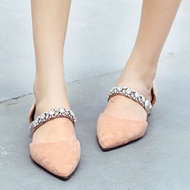 Faux Suede Pointed Toe Rhinestone Women's Flats