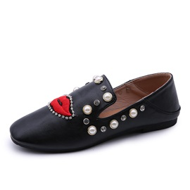PU Beads Embroidery Rhinestone Square Toe Flats