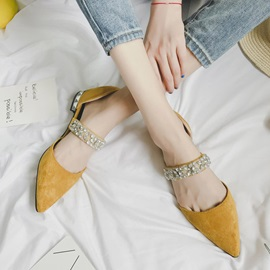 Rhinestone Pointed Toe Block Heel Women's Slip-On Flats