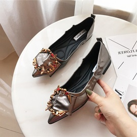 PU Rhinestone Pointed Toe Block Heel Women's Flats