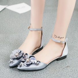 Cloth Rhinestone Pointed Toe Block Heel Women's Flats