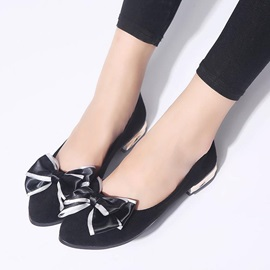 PU Bow Block Heel Slip-On Women's Flats