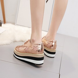 Low-Cut Upper Lace-Up Round Toe Women's Shoes