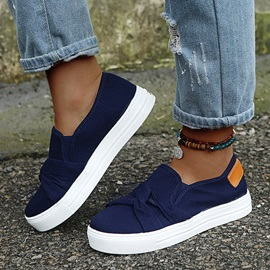 Flat With Thread Slip-On Plain Thin Shoes