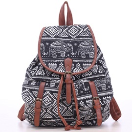 Pattern Canvas Women Backpack