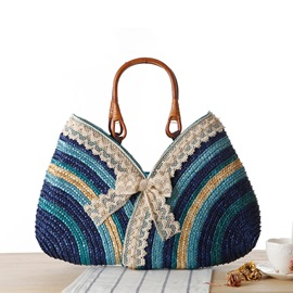 Stripe Bow Women Straw Bag