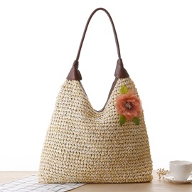 Pastoral Style Flower Adornment Women Straw Bag