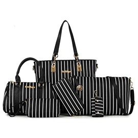 Fashion Stripe Style Women's Bag Set ( Six Bags )