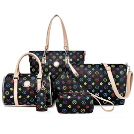 Vintage Geometric Pattern Printed Women's Bag Set