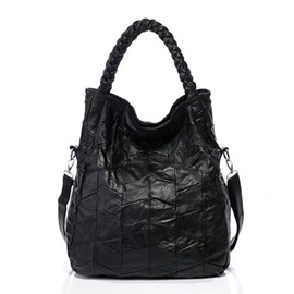 Patch-work Woven Handle Women's Tote Bag