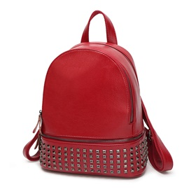 Punk Rivets Decorated Pure Color Backpack