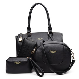 Lock Decorated Pure Color Women's Bag Set ( Four Bags )