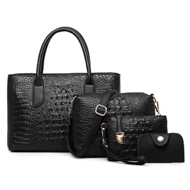 Vintage Croco-embossed Women's Bag Set ( Four Bags)