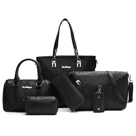Embossing Pure Color Women's Bag Set ( Six Bags )