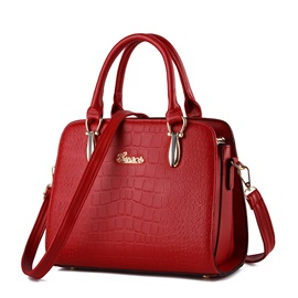 Fashion Solid Croco Embossed Satchel