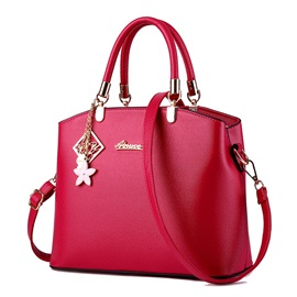 Fashion Star Pendant Solid Zipper Satchel