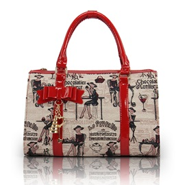 Red Wine Rendezvous Pattern Satchel