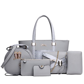 Luxurious Snake Skin 6 Pieces of Bag Sets