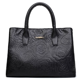 Elegant Rose Grain Zipper Satchel
