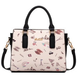 Vintage Cartoon Print Women Satchel