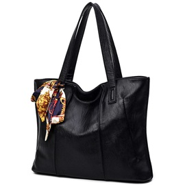 Vogue Ribbon Decorated Solid Color Tote Bag