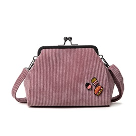 Casual Simple Snack Applique Corduroy Shoulder Bag