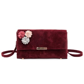 Simple Color Block Floral Crossbody Bag
