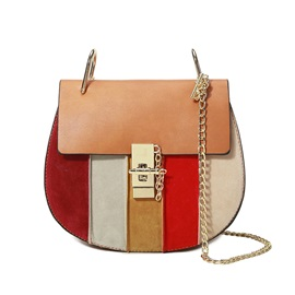 Stylish Colorful Stripe Patchwork Crossbody Bag