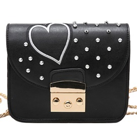 Embroidery Love Heart Rivets Chain Crossbody Bag