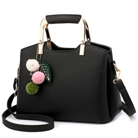 Korean Style Elegant Metal Handle PU Satchel