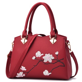 Retro Flower Printing Soft PU Women Satchel