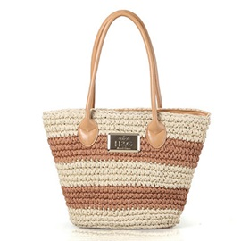 Casual Color Block Stripe Pattern Knitted Fabric Bag