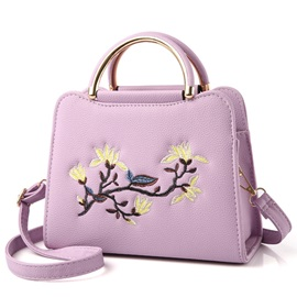 Trendy Solid Color Embroidery PU Satchel