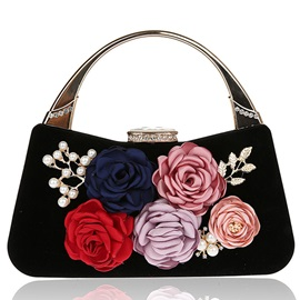 Velvet 3D Flower Design Evening Clutch