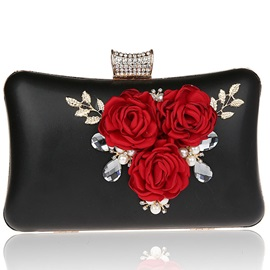 Solid Color Floral Patterns Evening Clutch