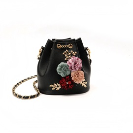 Bucket Shape Flower Diamond Crossbody Bag