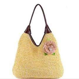 Flower Adornment Knitted Pattern Straw Bag