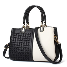Trendy Knitted Patchwork Pattern Satchel