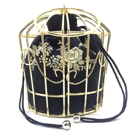 Vogue Metal Cage Embroidery Crossbody Bag