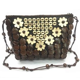 Manual Beads Coconut Adornment Crossbody Bag