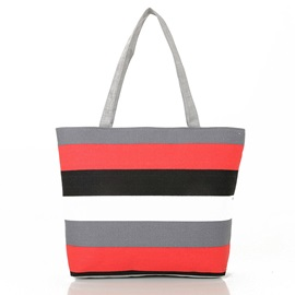 Casual Stripe Canvas Tote Bag