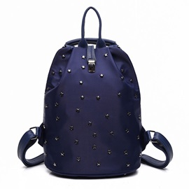 Concise Rivets Adornment Nylon Backpack