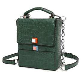 Retro Croco-Embossed Vertical Crossbody Bag